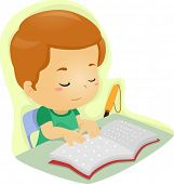 stock photo of braille  - Illustration of a Blind Boy Reading a Book Written in Braille - JPG