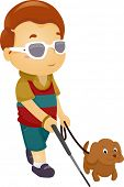foto of seeing eye dog  - Illustration of a Blind Boy Being Guided by a Seeing Eye Dog - JPG