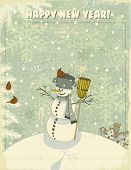 Vintage Christmas and New Year Greeting Card - Snowman on hill, against the snowy textured backdrop,