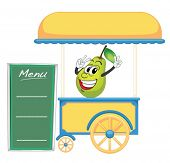illustration of a cart stall and a pear on a white background