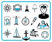 stock photo of wind wheel  - Nautical design frame and icon collection - JPG