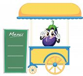 illustration of a cart stall and a fruit on a white background