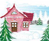 Постер, плакат: Розовая фея дом в зимний лес