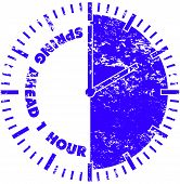 Spring Ahead Daylight Savings Time Rubber Stamp