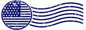 U.S. Flag Postage Cancellation Rubber Stamp