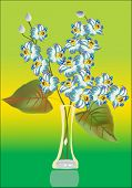 illustration with light blue orchids in vase