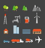Transport and ecology icons collection