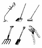 Garden Tools Clip Art - 200 Dpi With Working Paths
