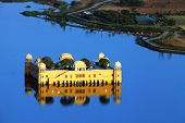 Water Palace (Jal Mahal) in Man Sagar Lake. Jaipur, Rajasthan, India. 18th Century. The palace Dzhal