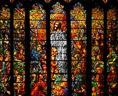 picture of stained glass  - Stained glass window in church depicting Jesus teaching - JPG