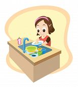 Girl Washing Dishes