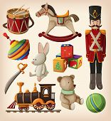 stock photo of drum-set  - Set of colourful vintage christmas toys for kids - JPG