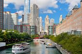 Sightseeing Boat On The Chicago River