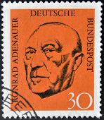 GERMANY - CIRCA 1968: A stamp printed in German Federal Republic show Chancellor Konrad Adenauer cir