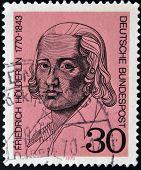 GERMANY - CIRCA 1970: a stamp printed in Germany shows Friedrich Holderlin lyric poet circa 1970