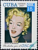 CUBA - CIRCA 2001: a stamp printed in Cuba dedicated to the forgotten oscar award shows Marilyn Monr