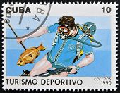 CUBA - CIRCA 1990: A stamp printed in Cuba dedicated to sports tourism shows Spearfishing circa 1990