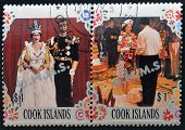 COOK ISLANDS - CIRCA 1977: Collection stamps printed in cook island shows two portraits of Queen Eli