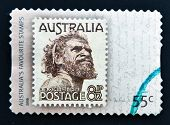 A stamp printed in the Australia showing an Aborigine Man named One Pound Jimmy