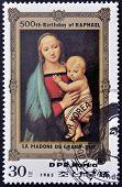 DPR KOREA - CIRCA 1983: A stamp printed in North Korea shows la Madone de Gran Duc by Raphael on the
