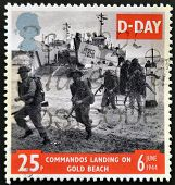 UNITED KINGDOM - CIRCA 1994: a stamp printed in Great Britain shows image of soldiers on Gold Beach
