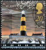 UNITED KINGDOM - CIRCA 1998: A stamp printed in Great Britain shows St John's Point Lighthouse Count