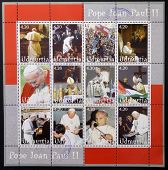 UDMURTIA - CIRCA 2003: Collection stamps printed in Udmurtia shows Pope John Paul II circa 2003