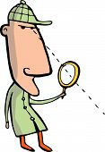 foto of crime solving  - A cartoonish detective with a magnifying glass and sherlock holms type outfit - JPG