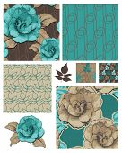 Camellia Japonica Vector Floral Seamless Patterns and Icons.  Use as fills for digital paper, wallpa