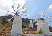 Traditional windmills at Crete island, Greece