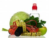 image of water cabbage  - Skipping rope with a tape measure and fresh healthy food on white background - JPG