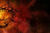stock photo of scratch  - Crown of thorns on dark red grunge background with scratches - JPG