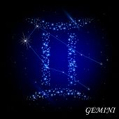 Sign of the zodiac - Genimi. Composed of stars.