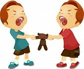 pic of playtime  - Illustration of Twin Boys Fighting Over a Stuffed Toy - JPG