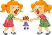 stock photo of rag-doll  - Illustration of Twin Sisters Fighting Over a Doll - JPG