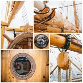 Ancient Sailing Vessel Collage.yachting Concept