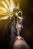 Fantasy Queen, young with golden mask, ancient goddess