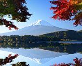 Mt. Fuji and autumn foliage at Lake Kawaguchi.