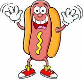 Cartoon hotdog waving