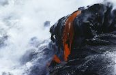 foto of volcanic  - USA Hawaii Big Island Volcanos National Park cooling lava and surf - JPG