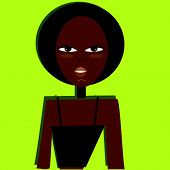 girl with afro hairstyle, strips blouse in black, acid green background.