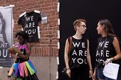 NEW YORK-JUN 30: Photographer iO Tillett Wright sets up her Self Evident Truths project to photograp