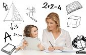 education, technology, internet and parenting concept - girl and mother doing homework with tablet pc