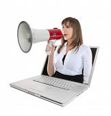 Business Woman And Megaphone