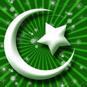 White Islam Symbol in Green Burst and Sparkle