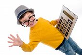 stock photo of shot glasses  - Geeky toddler boy with big calculator big glasses and wearing a hat - JPG