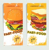 Banners of fast food design. Hand drawn illustrations. Retro Menu backgrounds over grunge background