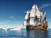 Sailing Ship and White Whale