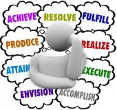 The words Achieve, Accomplish, Attain, Produce, Resolve, Fulfill, Realize and Execute in thought clo