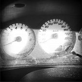 Speedometer and rev counter in car dashboard